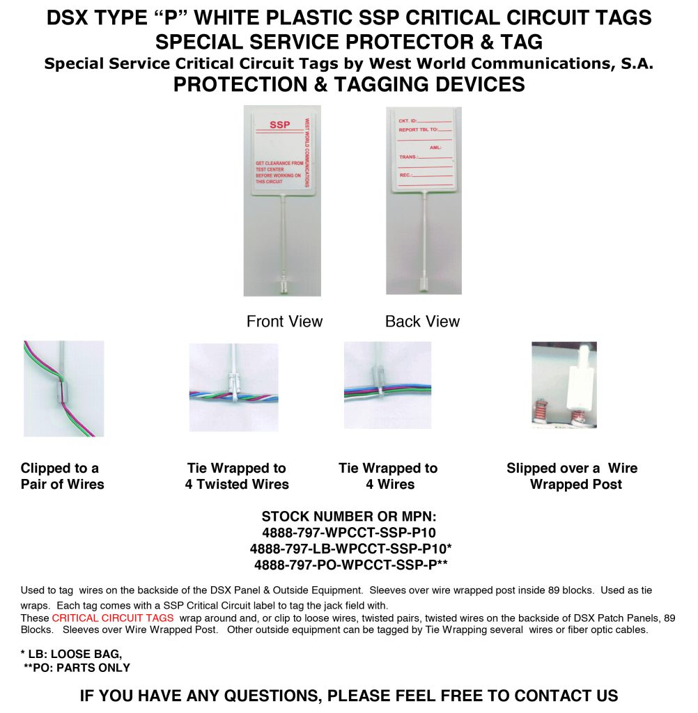DSX TYPE P WHITE PLASTIC SSP CRITICAL CIRCUIT TAGS SPECIAL SERVICE ...